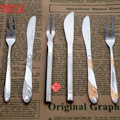 月饼刀叉,精美礼品餐具,蛋糕专用刀叉,仙鹤月饼刀叉勺