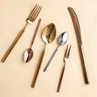 新品不锈钢圣玛德镀金方柄西餐餐具刀叉甜品咖啡刀叉