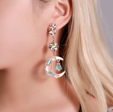 新款耳饰 彩色夸张不对称猫眼石耳环 巴洛克长款太阳月亮耳钉