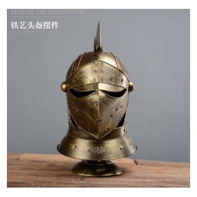 欧式复古罗马盔甲武士头盔铁艺装饰摆件/酒吧餐厅道具