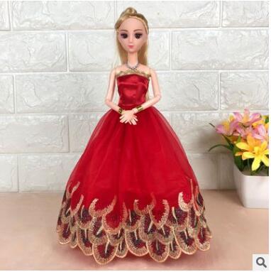 新齐芭比娃娃女孩关节公主精品蕾丝换装婚纱洋娃娃儿童玩具